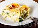 Рецепта Постна зеленчукова лазаня от готови кори със спанак, броколи и бешамелов сос